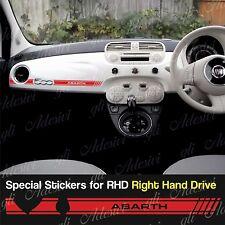 Stickers Fiat 500 Fascia Rosso dashboard Abarth for Right Hand Drive RHD