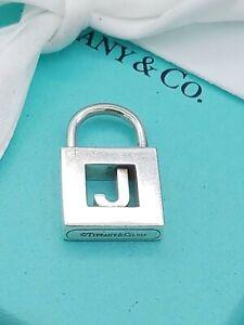 Genuine Tiffany & Co Sterling Silver J Initial Padlock Charm Pendant