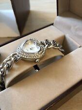 Ladies Jules Jurgensen Watch Silver Gem Heart Chain Bracelet Strap New