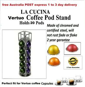 New Nespresso Vertuo Coffee Capsule Holder Chromed 20 pod stand rotating carouse