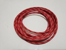 10 feet Vintage Braided Cloth Covered Primary Wire 12 GA gauge Red w/ 3 White