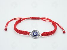 Red Hamsa Silver Bracelet Rope Handmade Charm Blue Evil Eye Protection Gift UK