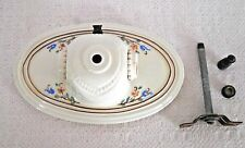 Vtg Porcelier Porcelain Ceiling Light Fixture Floral Double Socket Oval 10-1/4""
