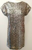 RIVER ISLAND (UK Size 10) Gold Sequin Sparkly Shift Dress - Short Sleeves