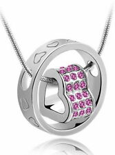 Love Halskette Ring mit Herz Silber mit Swarovski® Elements Rose 18K Weißgold pl