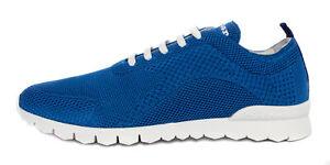 KITON SNEAKERS SHOES blue cotton textile extra-luxury Italy 43 us 10