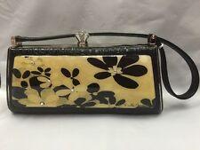 Debbie Brooks Black White Silver Handbag Evening Bag Handle New DECO Flowers