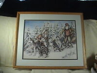 Patti And Doug Lindstrand Limited Edition Print Taking A Break On Dog Sled Trail