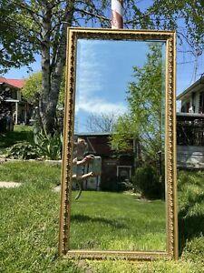 Vtg ORNATE Antique BUFFET Full LARGE Beveled Mirror Barbola Wood Gold Frame