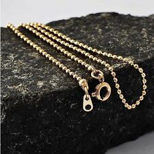 Pretty Yellow Gold Filled Hypoallergenic Solid Beaded Woman Chain Necklace