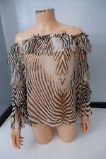 Roberto Cavalli Leopard Print 100%silk Top Blouse Size It40 Uk 8/10 Off Shoulder