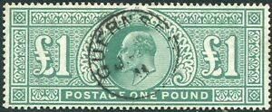 Sg 266 £1 Dull Blue Green.  A superb used with Guernsey cds with BPA certificate