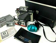 Vintage Polaroid Automatic 220 Land Camera w Case, Flash, Self Timer, & Manual