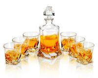 Scotch Decanter Set Whiskey Bottle Carafe with 6* Glasses Tumblers Rock Barware