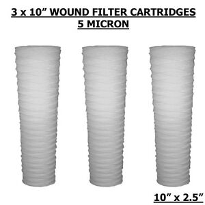 "10"" PP Wound Yarn 5 Micron Sediment Water Filters Hard Ward,WVO,BioDiesel 3PACK"
