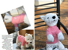 Brand New 100% Cotton Pet Dog Clothes Apparel Cute Pink T-shirt A624