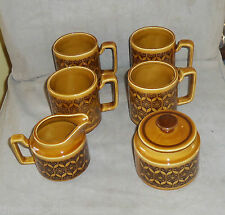 Royal Sealy Quality Imports Brown Retro Mod 4 coffee tea cups mugs cream sugar