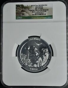 2016 5oz Silver 25c Shawnee MS 69 DPL Mint Sealed Box collection NGC
