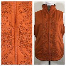 Sahalie Embroidered Fleece Lined Vest Womans L Zipper Boho Burnt Orange Brown
