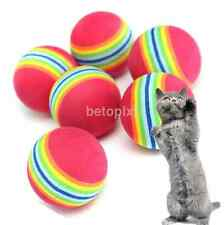 6PCS Mini Soft Foam Balls Red Rainbow Pet Ball Dog Cat Kitten Playing Chew Toy
