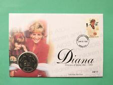 1998 Diana Princess of Wales Cover & UNC Sierra Leone 1$ Dollar coin SNo45444