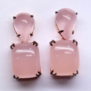 NATURAL 16 X 19mm. PINK CHALCEDONY & 12 X 17 mm. ROSE QUARTZ EARRINGS 925 SILVER