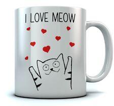 I Love Meow Coffee Mug - Cute Valentine's Gift for Cat Lovers Mug