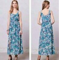 MAEVE Women's size XS Aloisia 100% Silk Maxi Dress Blue Green Sleeveless