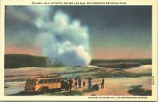 1937 Postcard Old Faithful Geyser Yellowstone National Park Bus Wyoming Unused