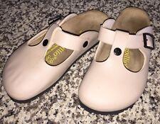 Birkenstock Papillio Beige Leather Buckle Mary Jane Mules Sandals Women Sz 5