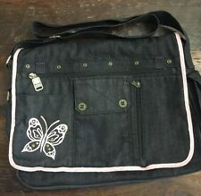 Mudd Bookbag/Totebag Black Denim w/Pink Embroidered Butterfly