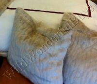 Pottery Barn Mini Ruched Faux Fur Pillow Cover 18 sq Ultra Soft Gray New