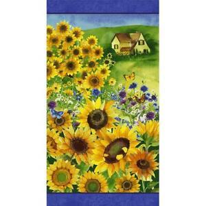 Clothworks Fabrics Sunny Fields Sue Zipkin Sunflower Cottage Panel