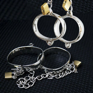 Stainless Steel Metal Hand & Feet Cuffs With Chain Lock BDSM Shackle Restraints
