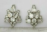 Vintage Clear Rhinestone Silver Climber Statement Screw Back Clip On Earrings