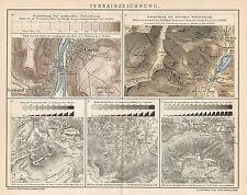 B6368 Cartografia - Disegno del Terreno - Carta geografica antica - 1903 old map
