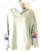Crave Fame Almost Famous Juniors' Floral-Embroidered Hoodie Sz L