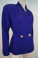 BERGDORF GOODMAN violet 100% Laine Double Breasted Formal Blazer Jacket US4; UK8