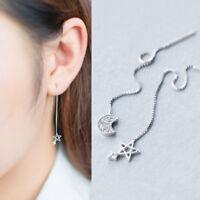 """Damen Ohrringe Durchzieher """"Mond & Stern"""" echt Sterling Silber 925 Zirkonia"""