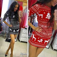 Women's Long Sleeve Christmas Swing Flared Party Rockabilly Retro Vintage Dress