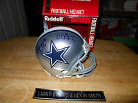 LARRY BROWN SB MVP & KEVIN SMITH AUTOGRAPHED SIGNED MINI HELMET DALLAS COWBOYS