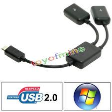 Micro 2-Port OTG hôte USB HUB Câble Y Splitter adaptateur pour Android Tablet PC