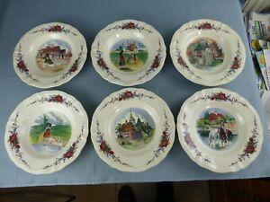 SARREGUEMINES Obernai Loux lot de 6 assiettes à soupes différentes 23 cm C