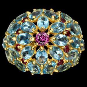 Square Sky Blue Topaz Aquamarine Emerald Ruby Gems 925 Sterling Silver Ring 8.5