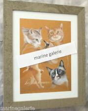chat dessin cadre déco tableau roux kaki pastel Lot 2 x 34cm ensemble neuf
