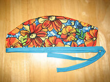 Surgical Scrub Hats/Cap     Tropical Print    Hibiscus     Orange and blue
