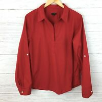 Talbots Women's Red Popover Blouse Red Long Sleeve Tunic Top Red Blouse Large