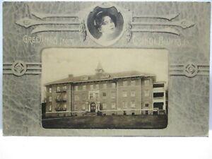 "1910 PHOTO POSTCARD "" GREETINGS FROM COUNCIL BLUFFS "" EDMUNASONS MEM. HOSPITAL"
