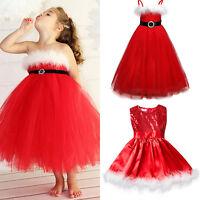 Toddler Girls Kids Christmas Santa Costume Party Xmas Tutu Fancy Dress Up Outfit