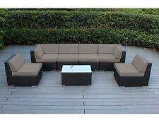 Ohana Wicker Patio Furniture 7 Piece Deep Seating Set - Sunbrella Taupe